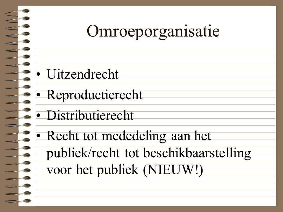 Omroeporganisatie Uitzendrecht Reproductierecht Distributierecht Recht tot mededeling aan het publiek/recht tot beschikbaarstelling voor het publiek (NIEUW!)