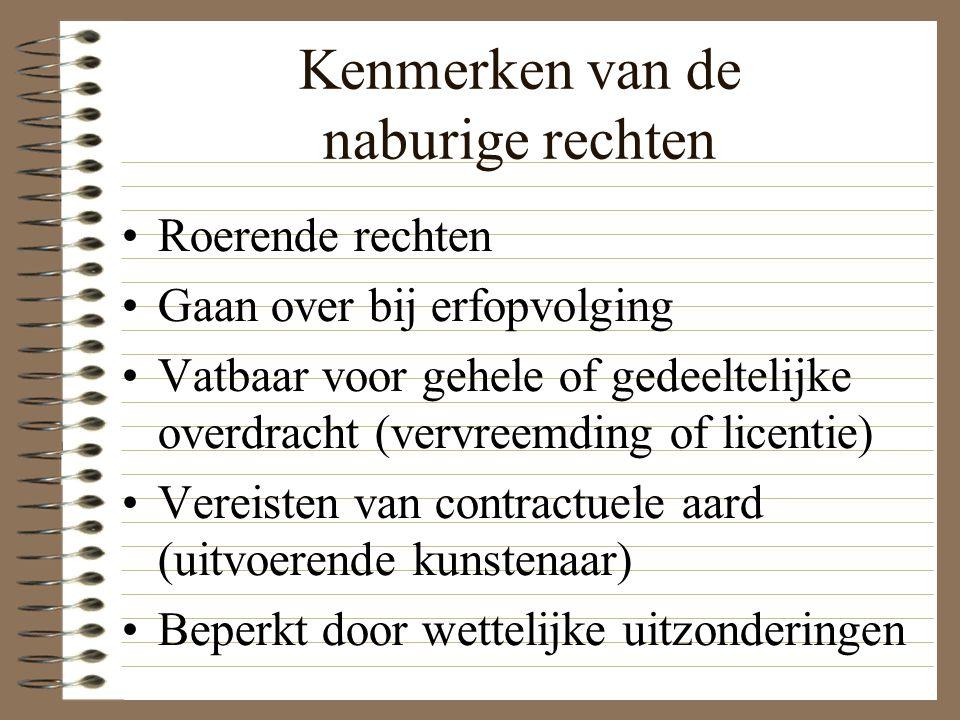 Kenmerken van de naburige rechten Roerende rechten Gaan over bij erfopvolging Vatbaar voor gehele of gedeeltelijke overdracht (vervreemding of licenti