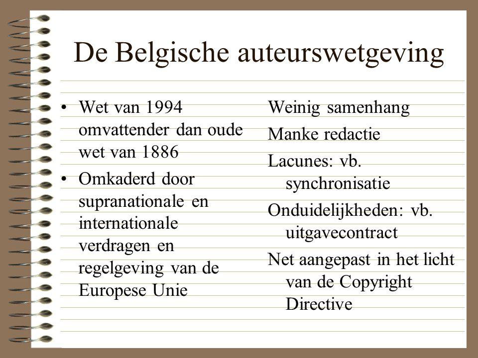 De Belgische auteurswetgeving Wet van 1994 omvattender dan oude wet van 1886 Omkaderd door supranationale en internationale verdragen en regelgeving van de Europese Unie Weinig samenhang Manke redactie Lacunes: vb.