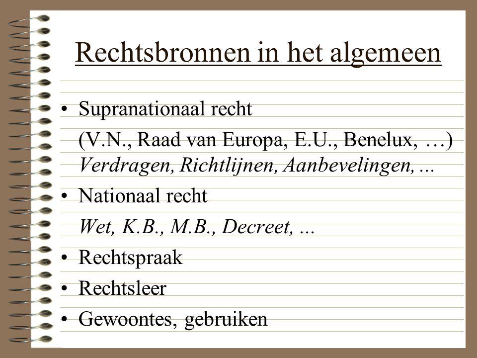 Rechtsbronnen in het algemeen Supranationaal recht (V.N., Raad van Europa, E.U., Benelux, …) Verdragen, Richtlijnen, Aanbevelingen,... Nationaal recht
