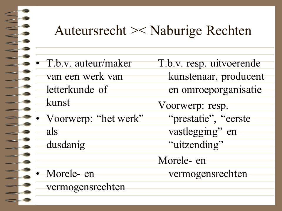 """Auteursrecht >< Naburige Rechten T.b.v. auteur/maker van een werk van letterkunde of kunst Voorwerp: """"het werk"""" als dusdanig Morele- en vermogensrecht"""