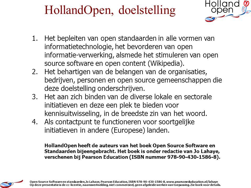 1.Het bepleiten van open standaarden in alle vormen van informatietechnologie, het bevorderen van open informatie-verwerking, alsmede het stimuleren van open source software en open content (Wikipedia).