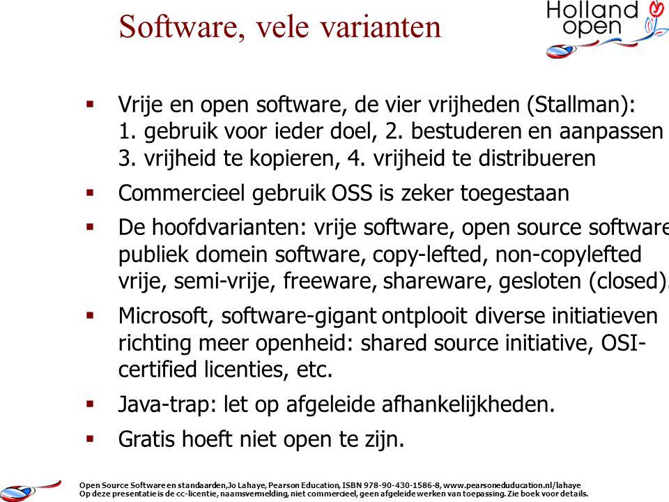  Vrije en open software, de vier vrijheden (Stallman): 1.