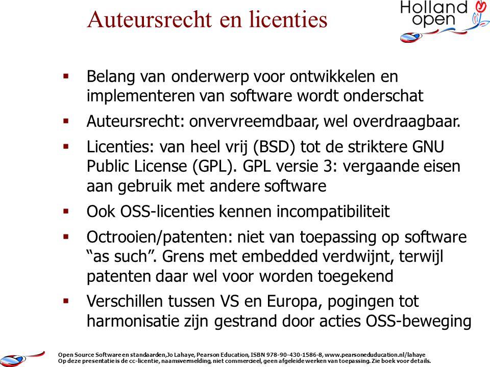  Belang van onderwerp voor ontwikkelen en implementeren van software wordt onderschat  Auteursrecht: onvervreemdbaar, wel overdraagbaar.