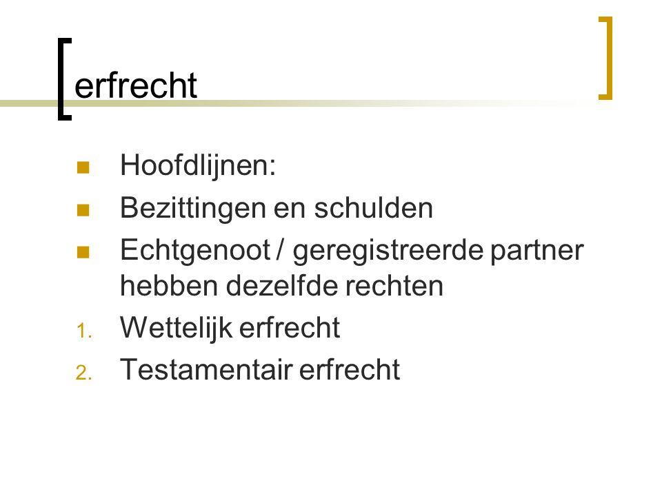erfrecht Hoofdlijnen: Bezittingen en schulden Echtgenoot / geregistreerde partner hebben dezelfde rechten 1. Wettelijk erfrecht 2. Testamentair erfrec