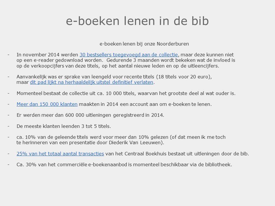 e-boeken lenen in de bib e-boeken lenen bij onze Noorderburen -In november 2014 werden 30 bestsellers toegevoegd aan de collectie, maar deze kunnen niet op een e-reader gedownload worden.