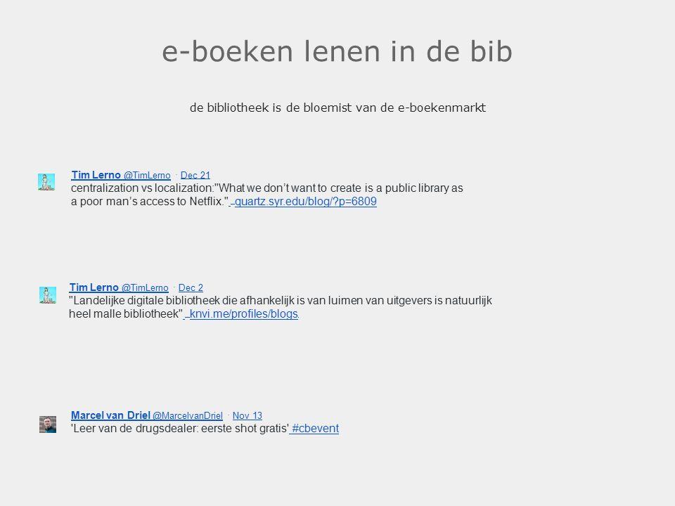e-boeken lenen in de bib de bibliotheek is de bloemist van de e-boekenmarkt. Tim Lerno @TimLerno Tim Lerno @TimLerno · Dec 21 Dec 21 centralization vs