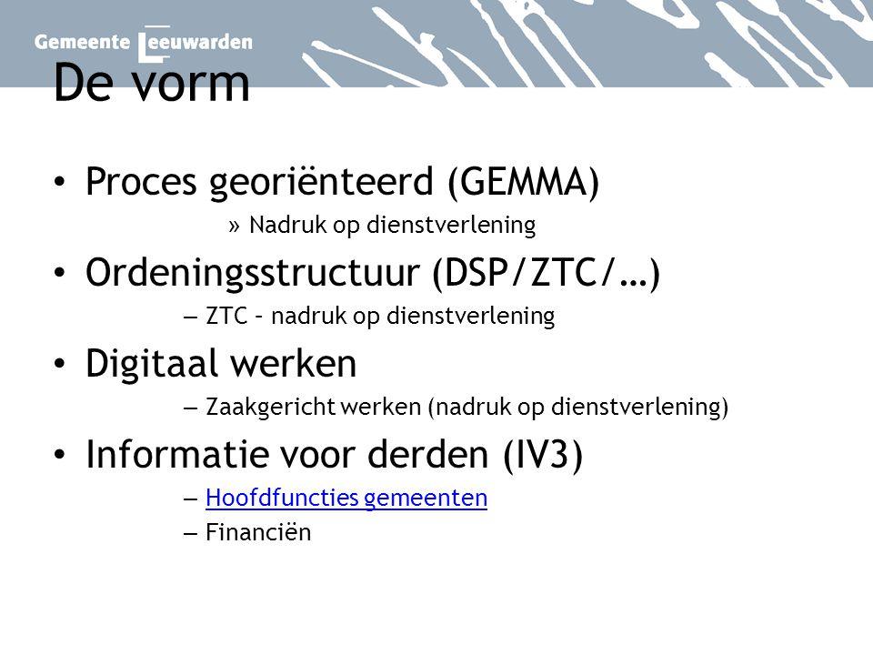 De vorm Proces georiënteerd (GEMMA) » Nadruk op dienstverlening Ordeningsstructuur (DSP/ZTC/…) – ZTC – nadruk op dienstverlening Digitaal werken – Zaa