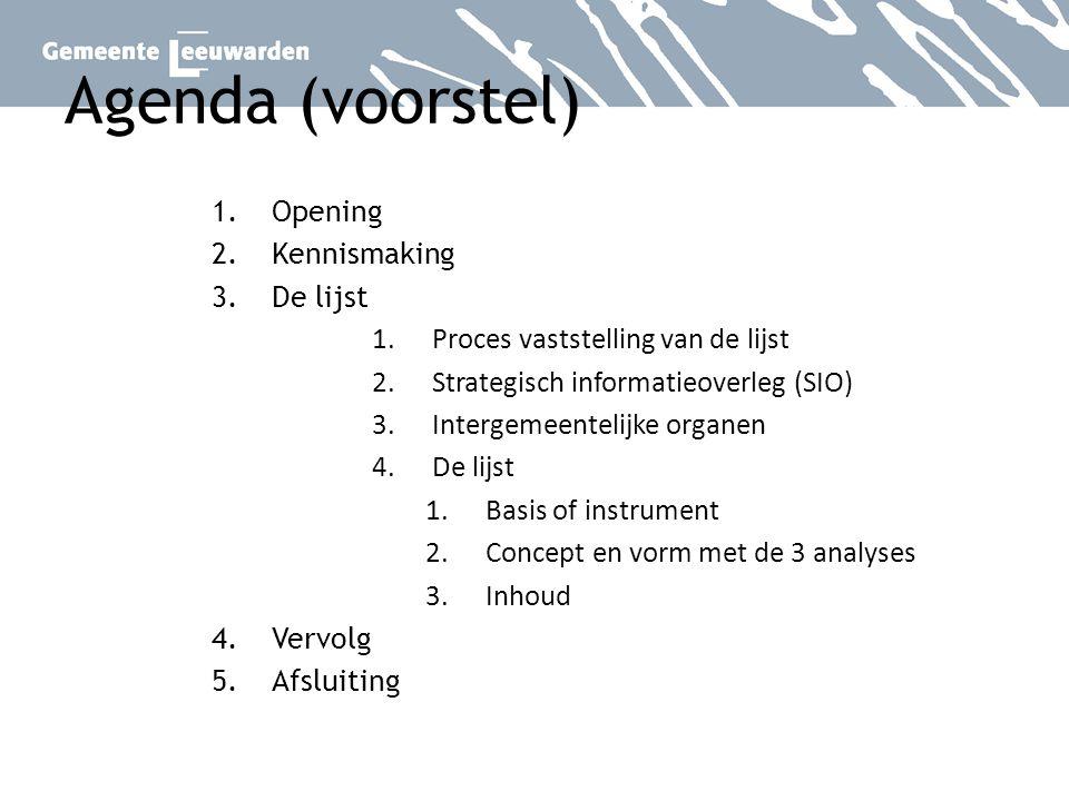 Agenda (voorstel) 1.Opening 2.Kennismaking 3.De lijst 1.Proces vaststelling van de lijst 2.Strategisch informatieoverleg (SIO) 3.Intergemeentelijke or