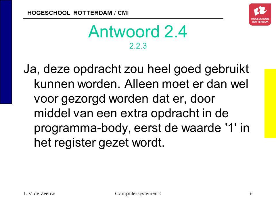 HOGESCHOOL ROTTERDAM / CMI L.V. de ZeeuwComputersystemen 227 Antwoord 2. 2.x.y