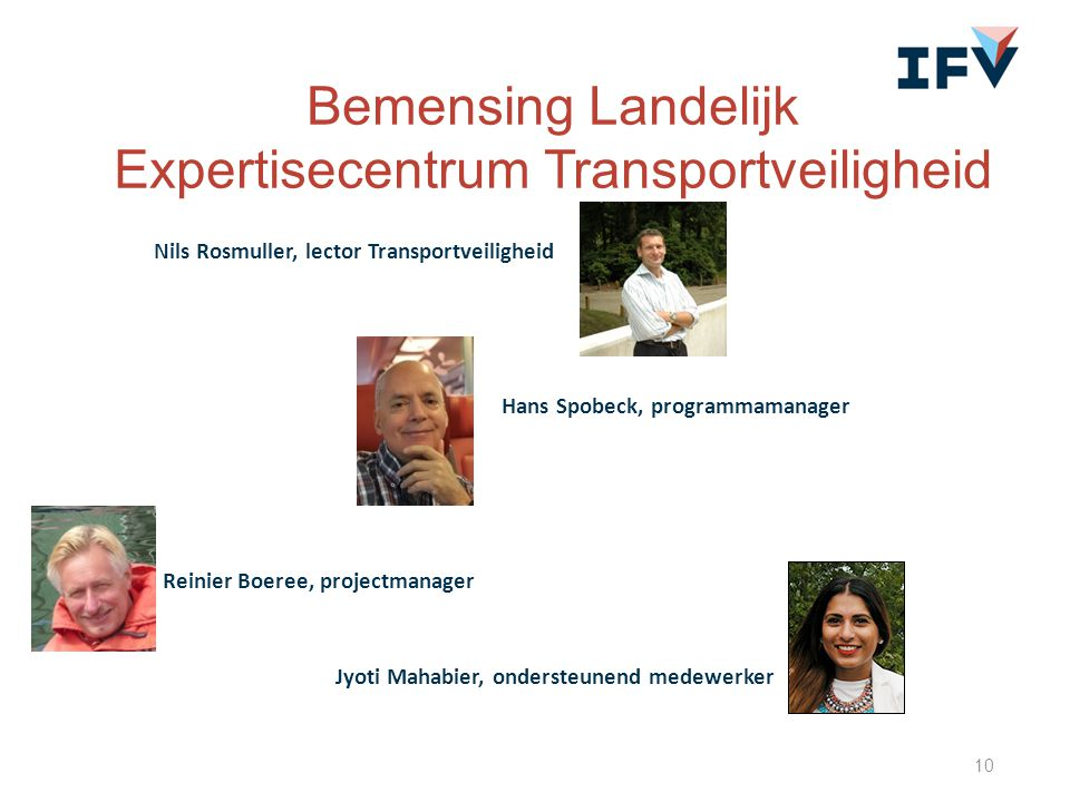 10 Nils Rosmuller, lector Transportveiligheid Hans Spobeck, programmamanager Reinier Boeree, projectmanager Bemensing Landelijk Expertisecentrum Trans
