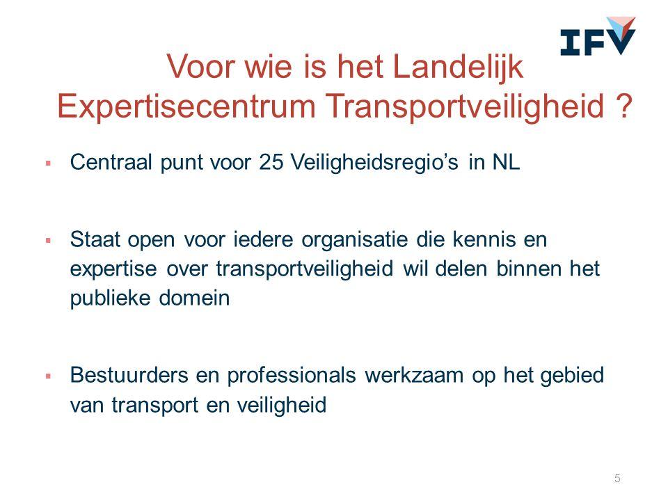  Centraal punt voor 25 Veiligheidsregio's in NL  Staat open voor iedere organisatie die kennis en expertise over transportveiligheid wil delen binne