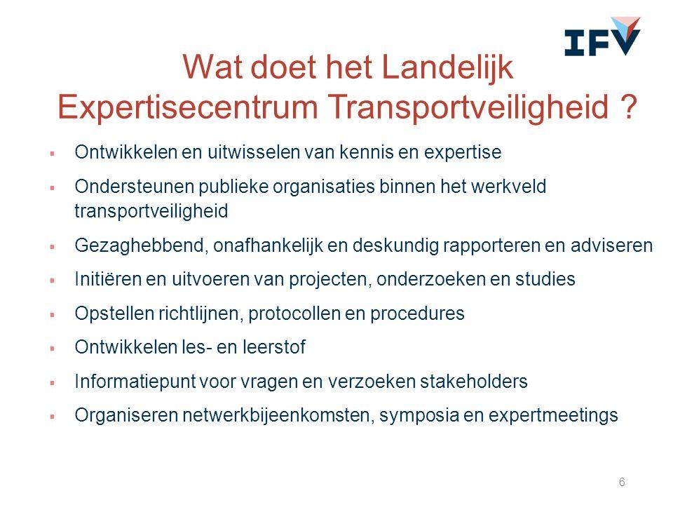  Ontwikkelen en uitwisselen van kennis en expertise  Ondersteunen publieke organisaties binnen het werkveld transportveiligheid  Gezaghebbend, onaf