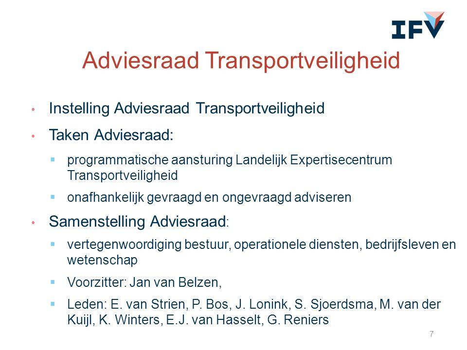Instelling Adviesraad Transportveiligheid Taken Adviesraad:  programmatische aansturing Landelijk Expertisecentrum Transportveiligheid  onafhankelij