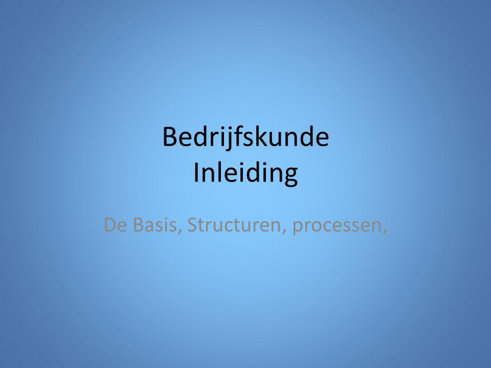 Bedrijfskunde Inleiding De Basis, Structuren, processen,