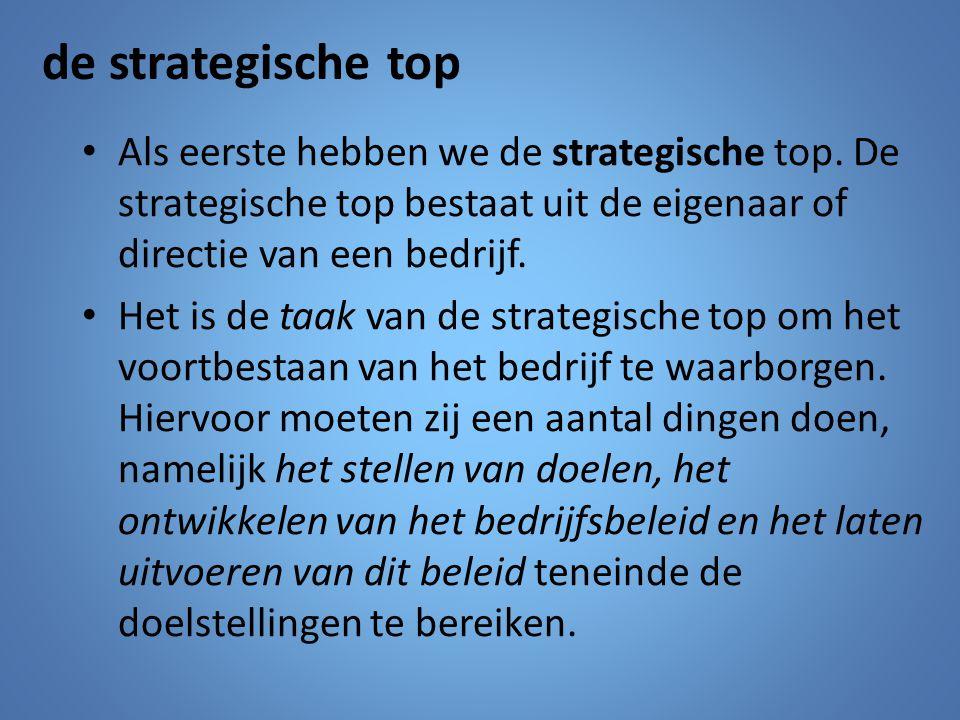 Als eerste hebben we de strategische top. De strategische top bestaat uit de eigenaar of directie van een bedrijf. Het is de taak van de strategische