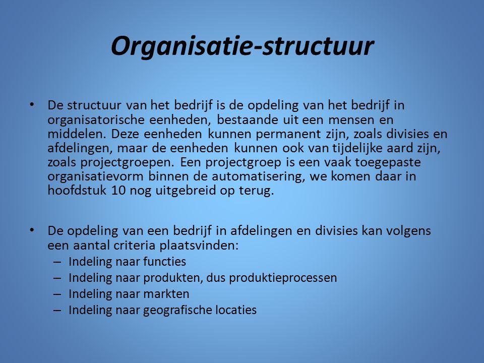 Organisatie-structuur De structuur van het bedrijf is de opdeling van het bedrijf in organisatorische eenheden, bestaande uit een mensen en middelen.