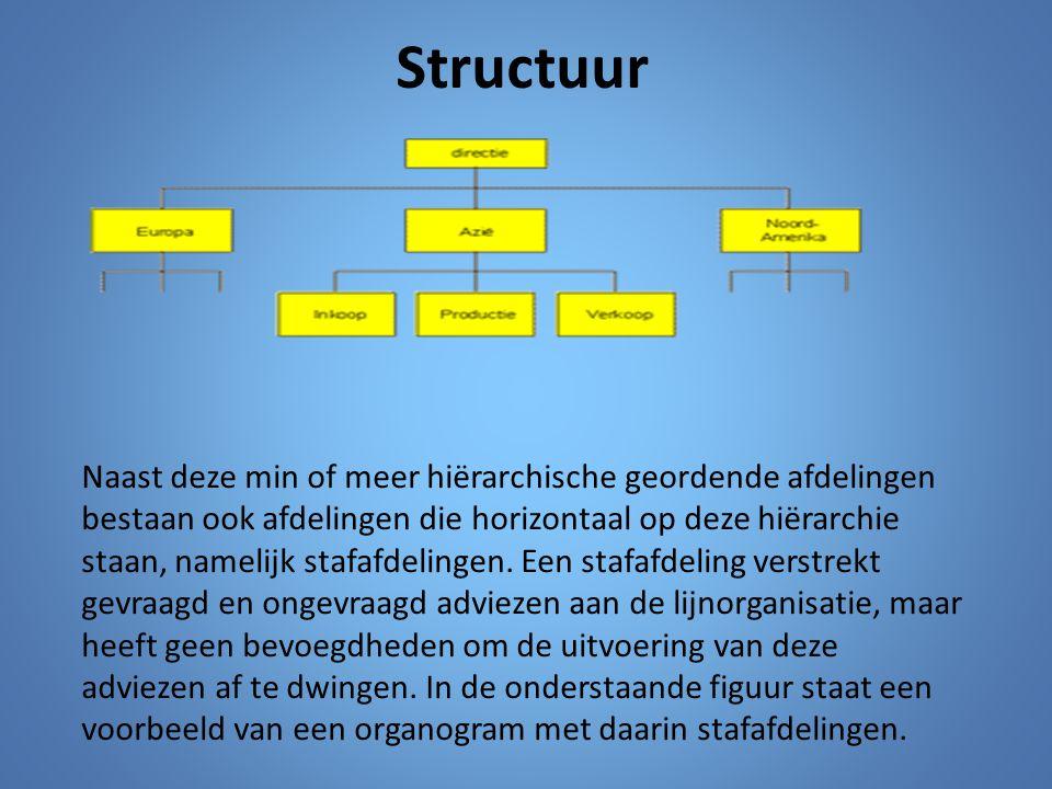 Structuur Naast deze min of meer hiërarchische geordende afdelingen bestaan ook afdelingen die horizontaal op deze hiërarchie staan, namelijk stafafde