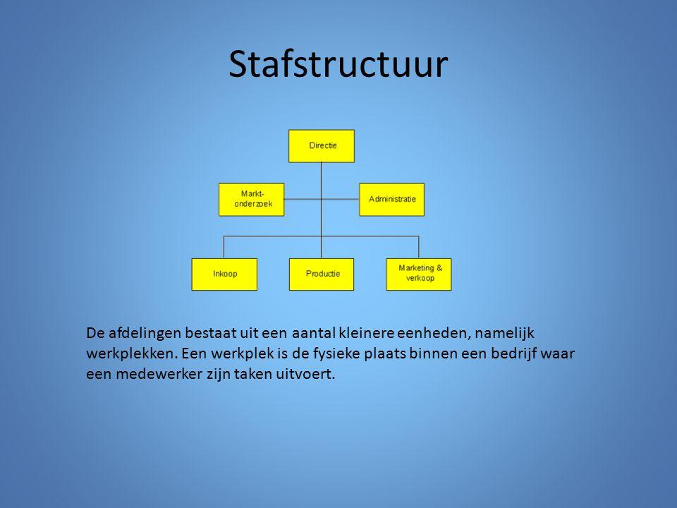 Stafstructuur De afdelingen bestaat uit een aantal kleinere eenheden, namelijk werkplekken. Een werkplek is de fysieke plaats binnen een bedrijf waar