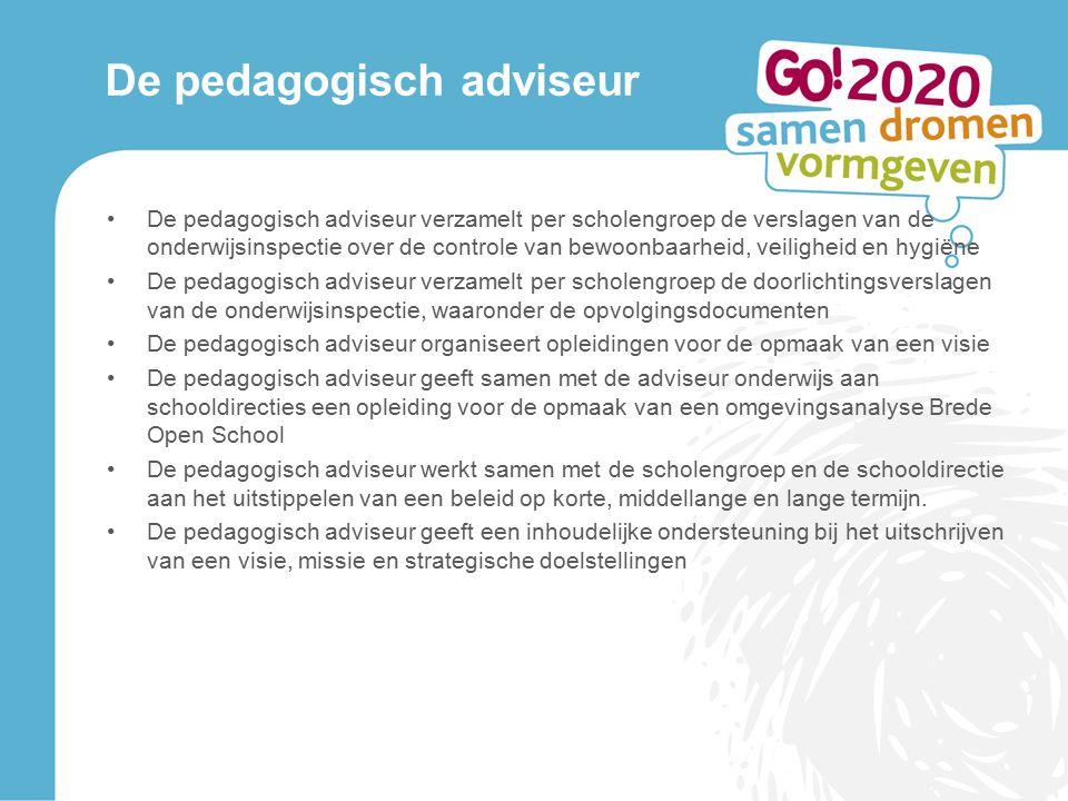 De pedagogisch adviseur De pedagogisch adviseur verzamelt per scholengroep de verslagen van de onderwijsinspectie over de controle van bewoonbaarheid,