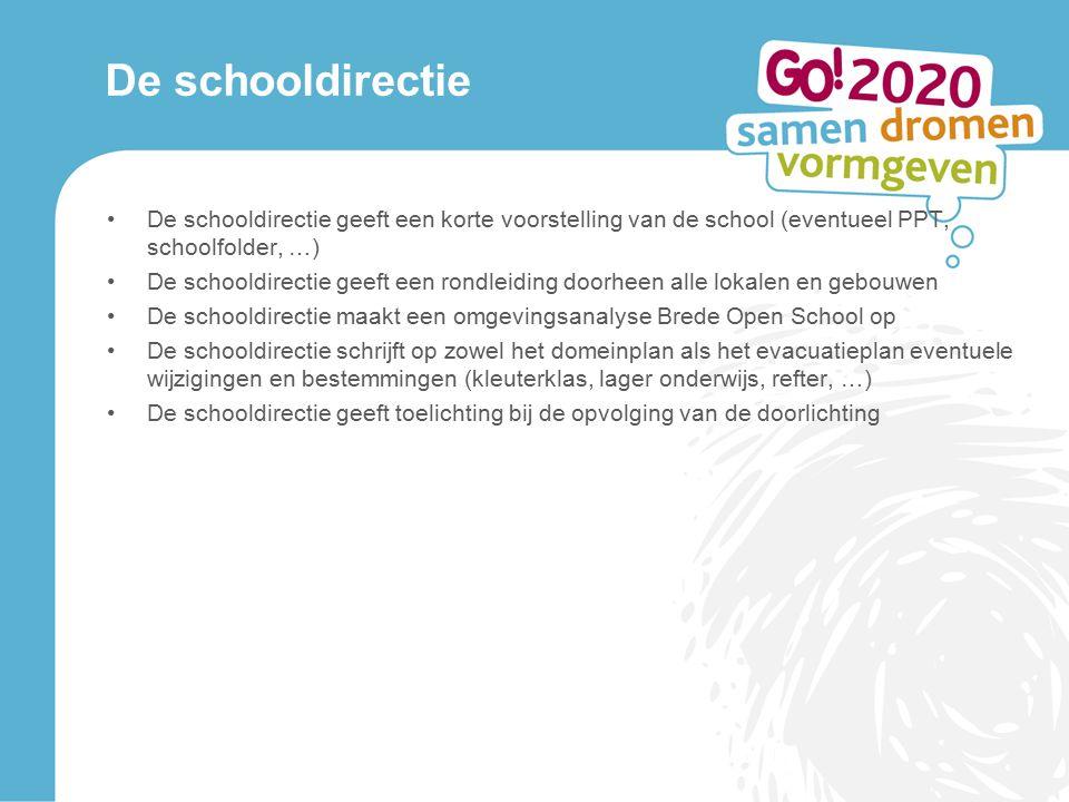 De schooldirectie De schooldirectie geeft een korte voorstelling van de school (eventueel PPT, schoolfolder, …) De schooldirectie geeft een rondleidin