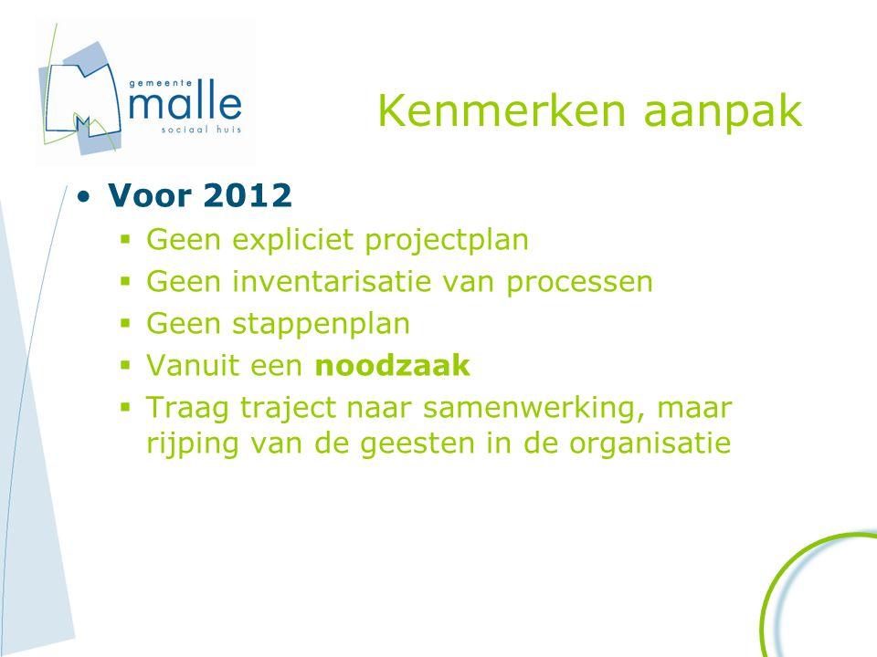 Kenmerken aanpak Voor 2012  Geen expliciet projectplan  Geen inventarisatie van processen  Geen stappenplan  Vanuit een noodzaak  Traag traject n