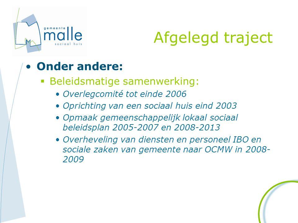Afgelegd traject Onder andere:  Beleidsmatige samenwerking: Overlegcomité tot einde 2006 Oprichting van een sociaal huis eind 2003 Opmaak gemeenschap