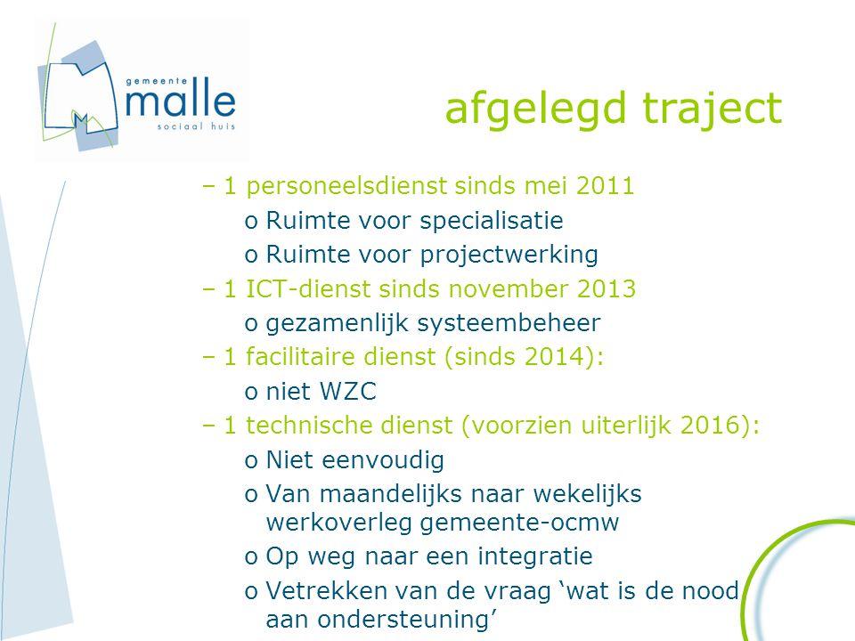 afgelegd traject –1 personeelsdienst sinds mei 2011 oRuimte voor specialisatie oRuimte voor projectwerking –1 ICT-dienst sinds november 2013 ogezamenl