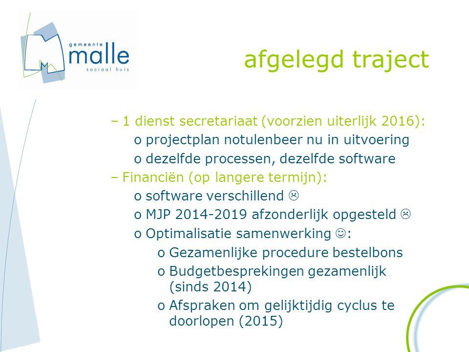 afgelegd traject –1 dienst secretariaat (voorzien uiterlijk 2016): oprojectplan notulenbeer nu in uitvoering odezelfde processen, dezelfde software –F