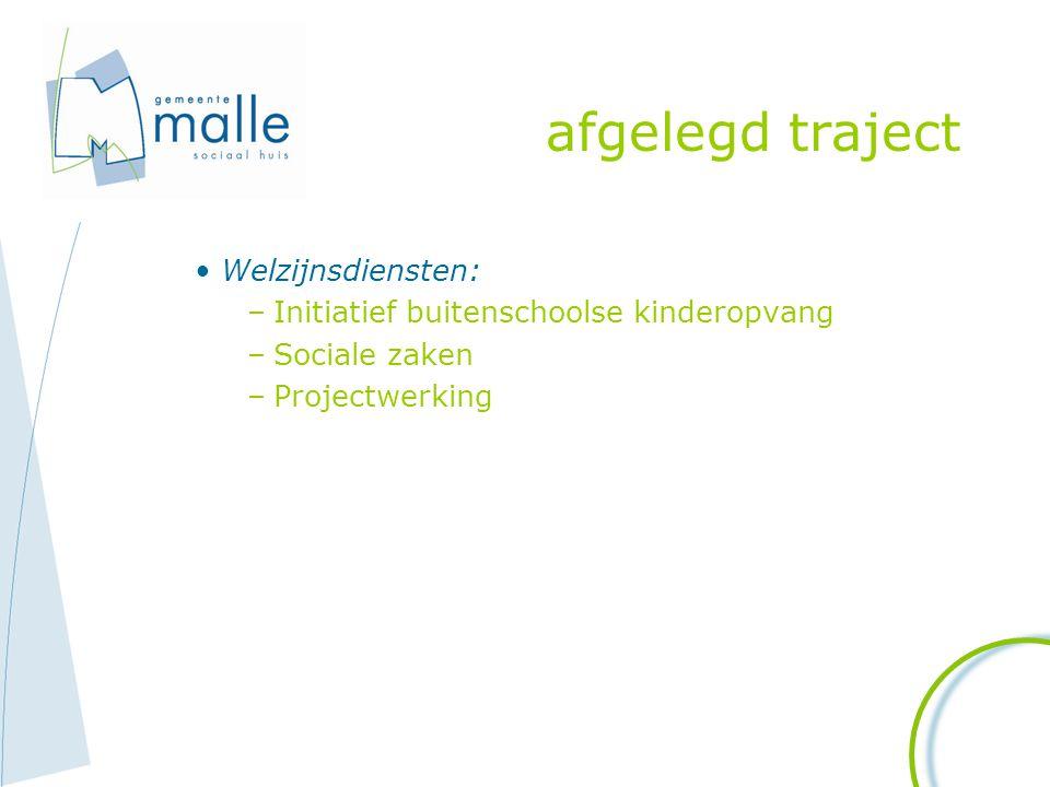 afgelegd traject Welzijnsdiensten: –Initiatief buitenschoolse kinderopvang –Sociale zaken –Projectwerking