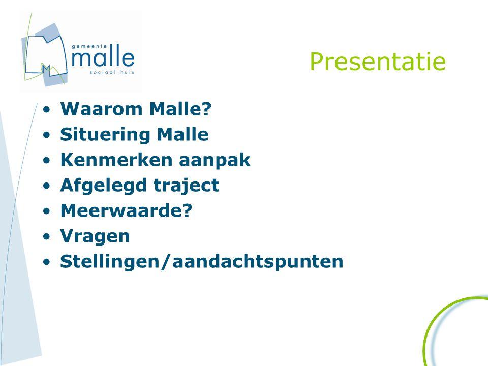 Presentatie Waarom Malle? Situering Malle Kenmerken aanpak Afgelegd traject Meerwaarde? Vragen Stellingen/aandachtspunten