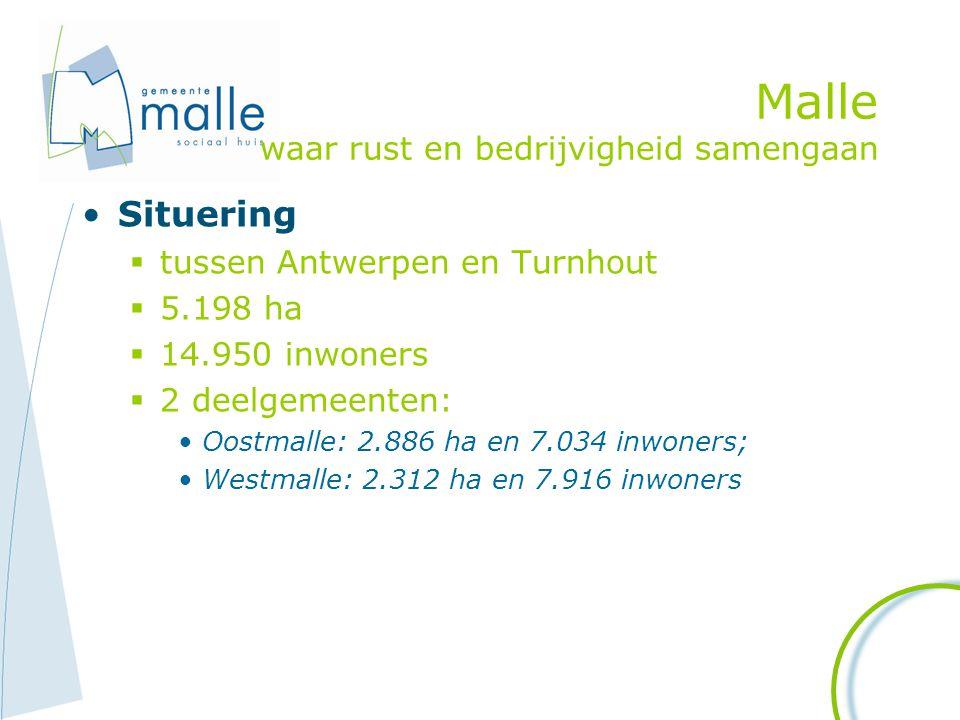 Malle waar rust en bedrijvigheid samengaan Situering  tussen Antwerpen en Turnhout  5.198 ha  14.950 inwoners  2 deelgemeenten: Oostmalle: 2.886 h