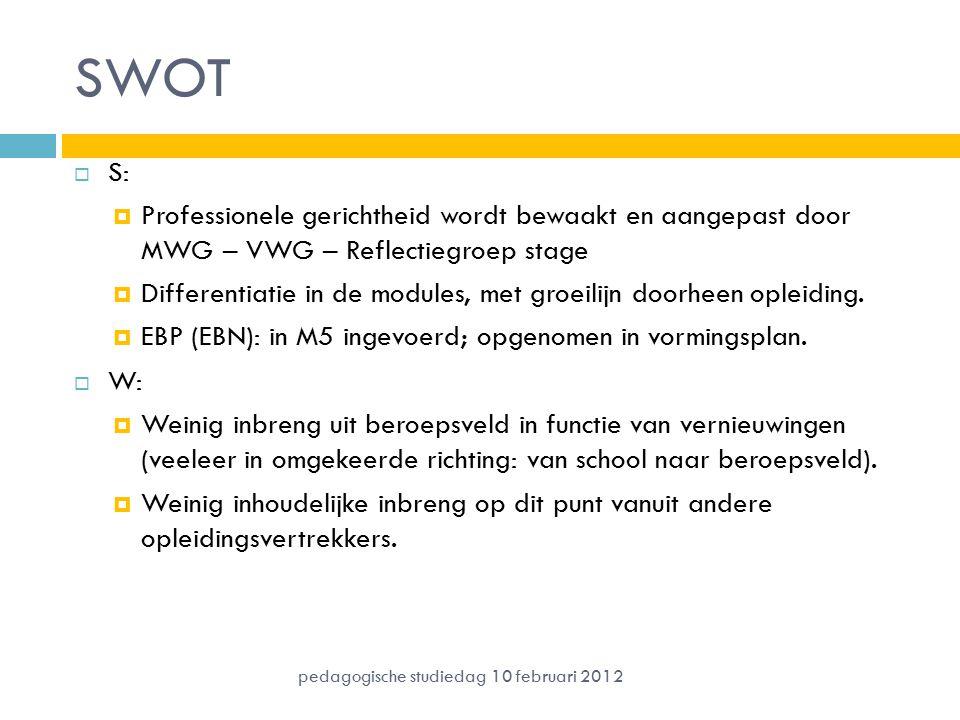 SWOT  S:  Professionele gerichtheid wordt bewaakt en aangepast door MWG – VWG – Reflectiegroep stage  Differentiatie in de modules, met groeilijn doorheen opleiding.