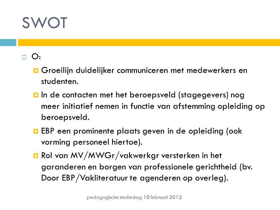 SWOT  O:  Groeilijn duidelijker communiceren met medewerkers en studenten.  In de contacten met het beroepsveld (stagegevers) nog meer initiatief n