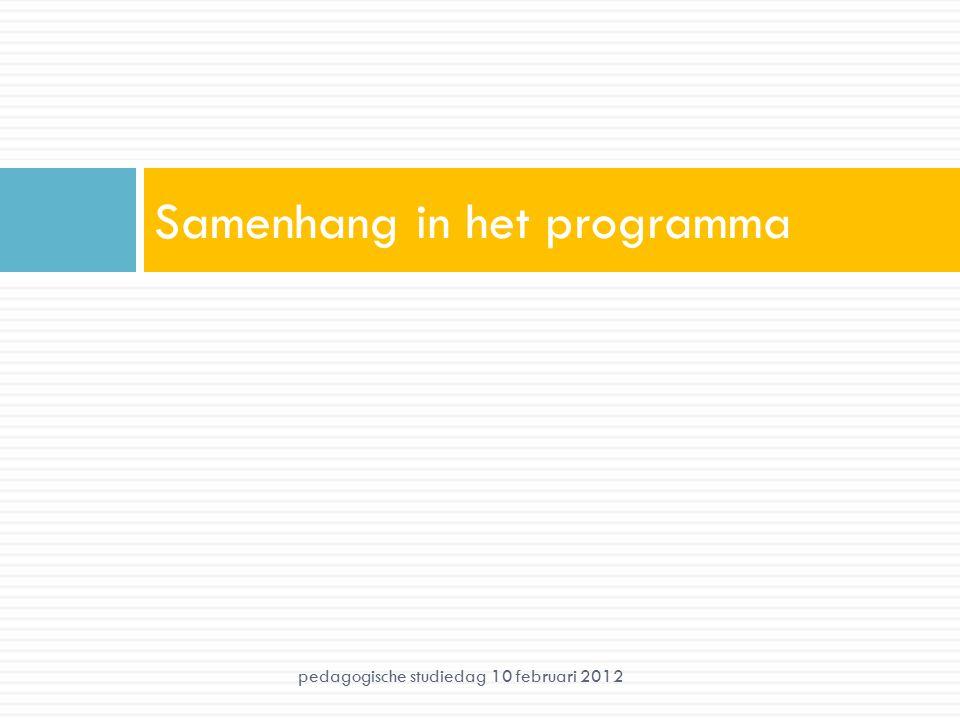 Samenhang in het programma pedagogische studiedag 10 februari 2012