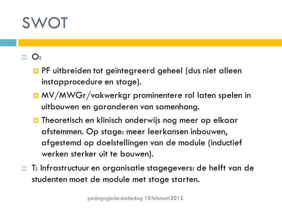 SWOT  O:  PF uitbreiden tot geïntegreerd geheel (dus niet alleen instapprocedure en stage).  MV/MWGr/vakwerkgr prominentere rol laten spelen in uit