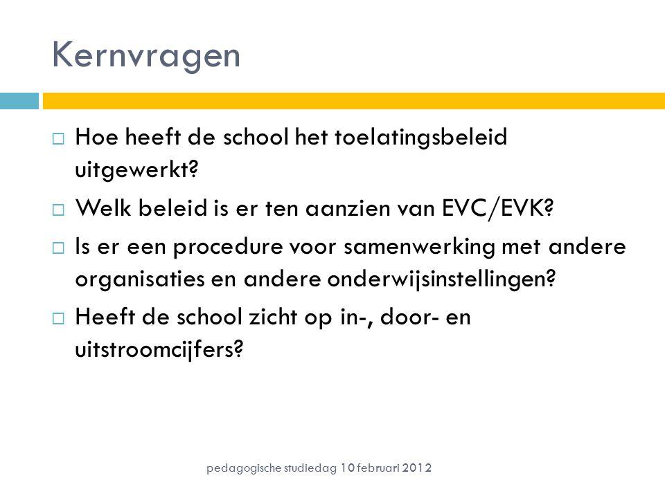 Kernvragen  Hoe heeft de school het toelatingsbeleid uitgewerkt?  Welk beleid is er ten aanzien van EVC/EVK?  Is er een procedure voor samenwerking