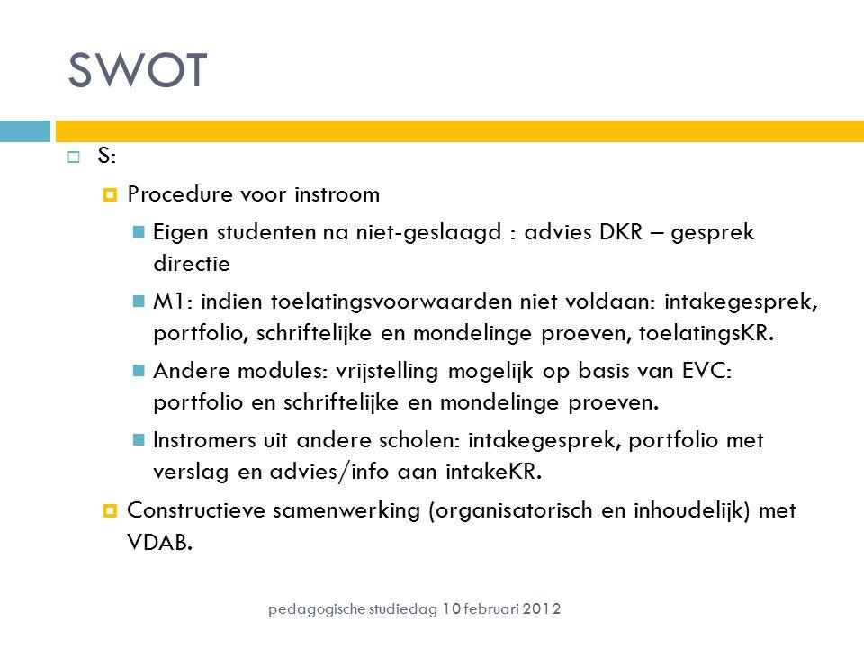 SWOT  S:  Procedure voor instroom Eigen studenten na niet-geslaagd : advies DKR – gesprek directie M1: indien toelatingsvoorwaarden niet voldaan: intakegesprek, portfolio, schriftelijke en mondelinge proeven, toelatingsKR.