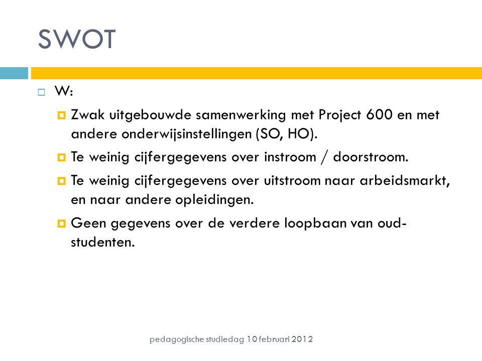 SWOT  W:  Zwak uitgebouwde samenwerking met Project 600 en met andere onderwijsinstellingen (SO, HO).  Te weinig cijfergegevens over instroom / doo