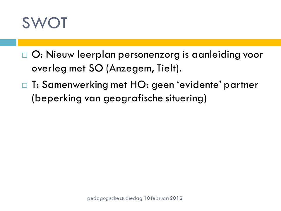 SWOT  O: Nieuw leerplan personenzorg is aanleiding voor overleg met SO (Anzegem, Tielt).  T: Samenwerking met HO: geen 'evidente' partner (beperking
