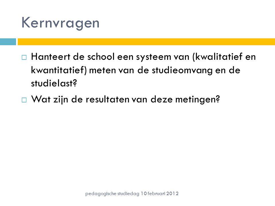 Kernvragen  Hanteert de school een systeem van (kwalitatief en kwantitatief) meten van de studieomvang en de studielast?  Wat zijn de resultaten van