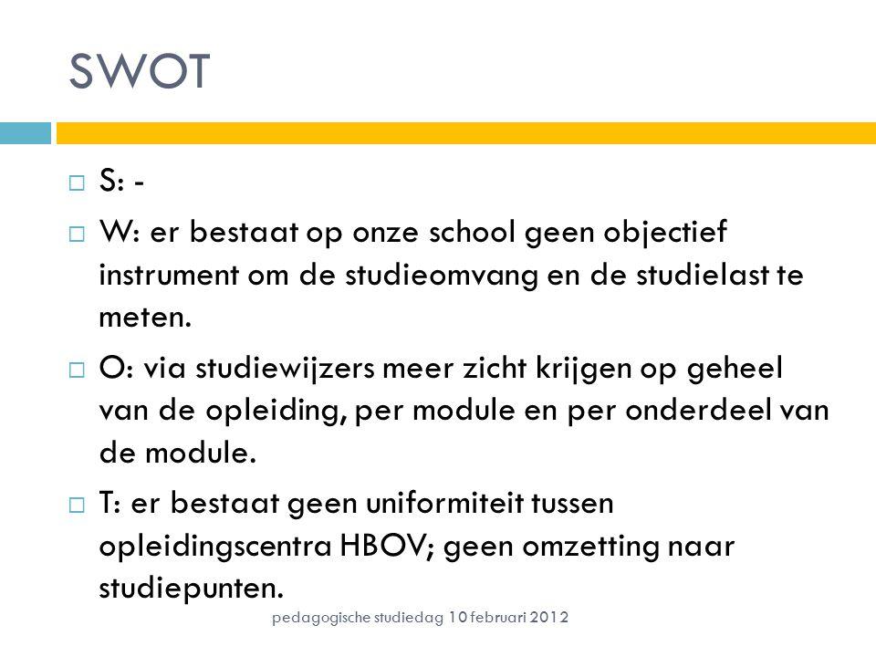 SWOT  S: -  W: er bestaat op onze school geen objectief instrument om de studieomvang en de studielast te meten.  O: via studiewijzers meer zicht k
