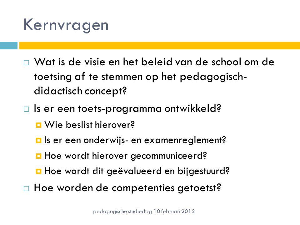 Kernvragen  Wat is de visie en het beleid van de school om de toetsing af te stemmen op het pedagogisch- didactisch concept?  Is er een toets-progra