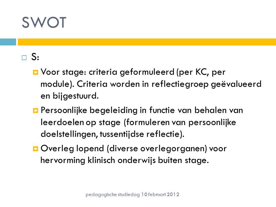 SWOT  S:  Voor stage: criteria geformuleerd (per KC, per module). Criteria worden in reflectiegroep geëvalueerd en bijgestuurd.  Persoonlijke begel