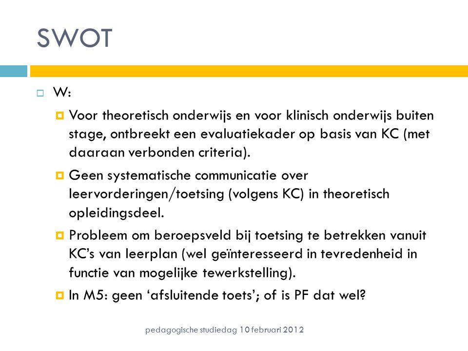 SWOT  W:  Voor theoretisch onderwijs en voor klinisch onderwijs buiten stage, ontbreekt een evaluatiekader op basis van KC (met daaraan verbonden cr