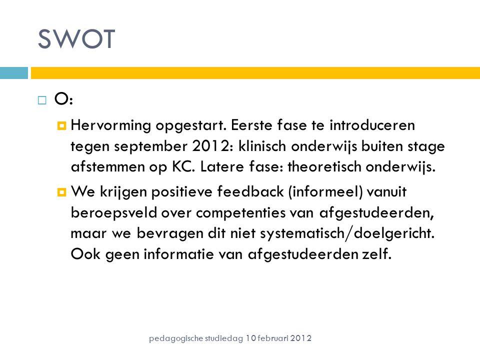 SWOT  O:  Hervorming opgestart. Eerste fase te introduceren tegen september 2012: klinisch onderwijs buiten stage afstemmen op KC. Latere fase: theo