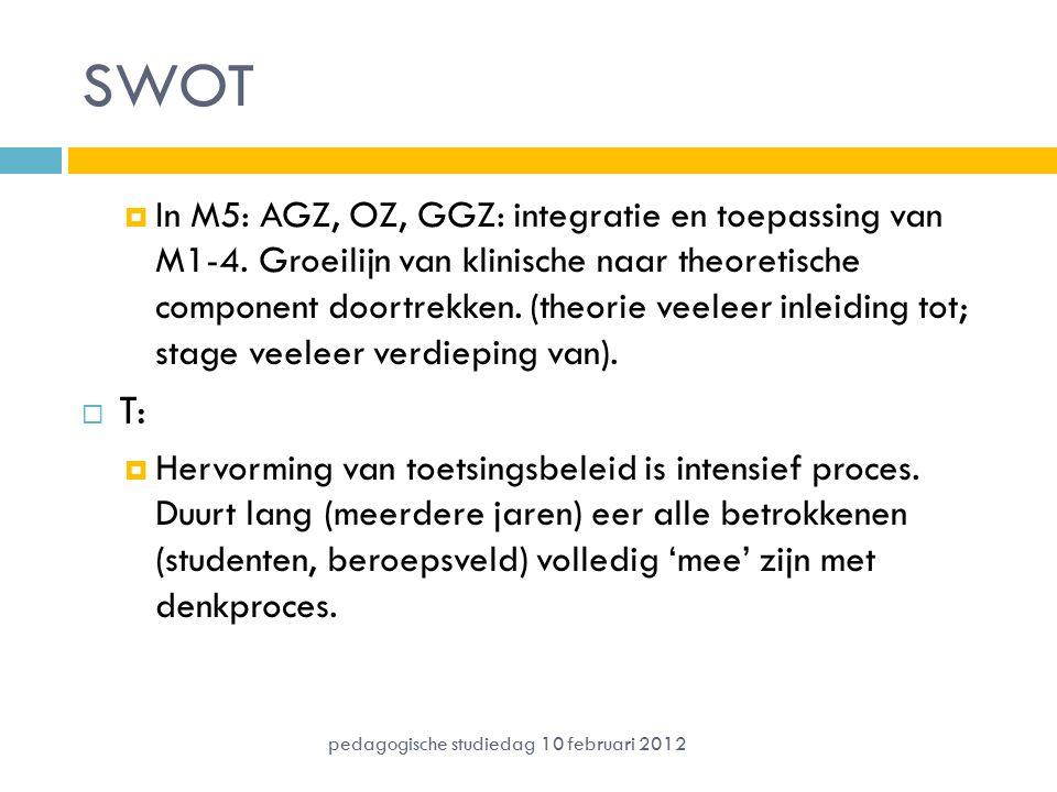 SWOT  In M5: AGZ, OZ, GGZ: integratie en toepassing van M1-4. Groeilijn van klinische naar theoretische component doortrekken. (theorie veeleer inlei