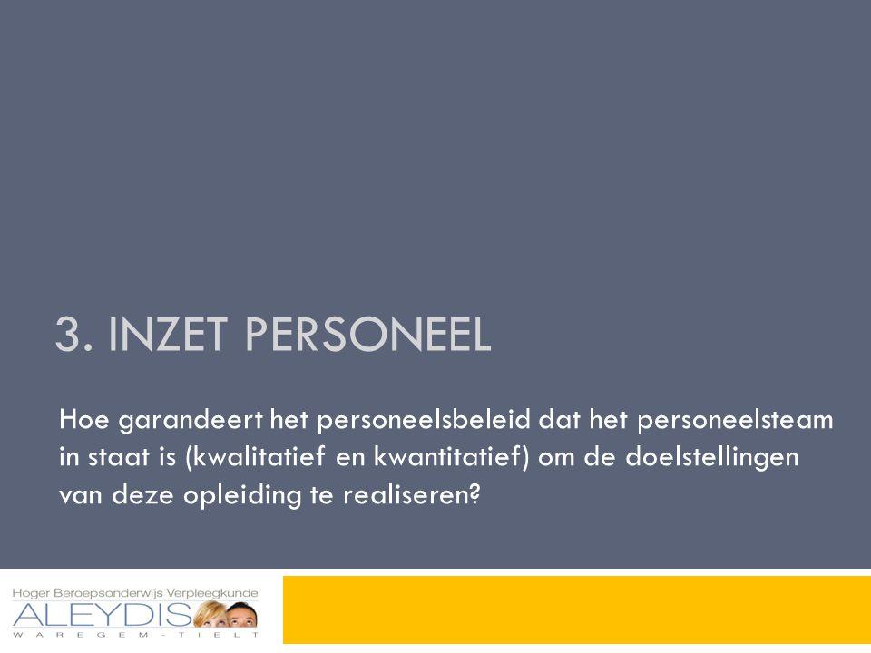 3. INZET PERSONEEL Hoe garandeert het personeelsbeleid dat het personeelsteam in staat is (kwalitatief en kwantitatief) om de doelstellingen van deze