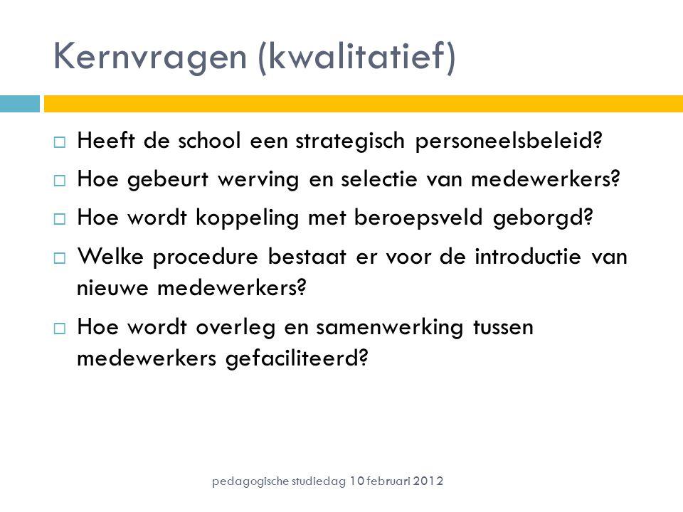 Kernvragen (kwalitatief)  Heeft de school een strategisch personeelsbeleid?  Hoe gebeurt werving en selectie van medewerkers?  Hoe wordt koppeling