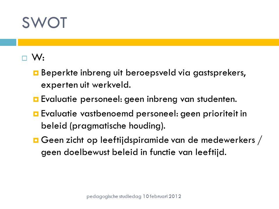 SWOT  W:  Beperkte inbreng uit beroepsveld via gastsprekers, experten uit werkveld.  Evaluatie personeel: geen inbreng van studenten.  Evaluatie v